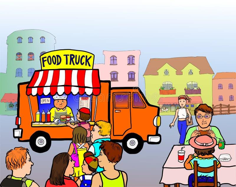 Φορτηγό τροφίμων οδών διανυσματική απεικόνιση