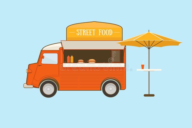 Φορτηγό τροφίμων οδών ελεύθερη απεικόνιση δικαιώματος