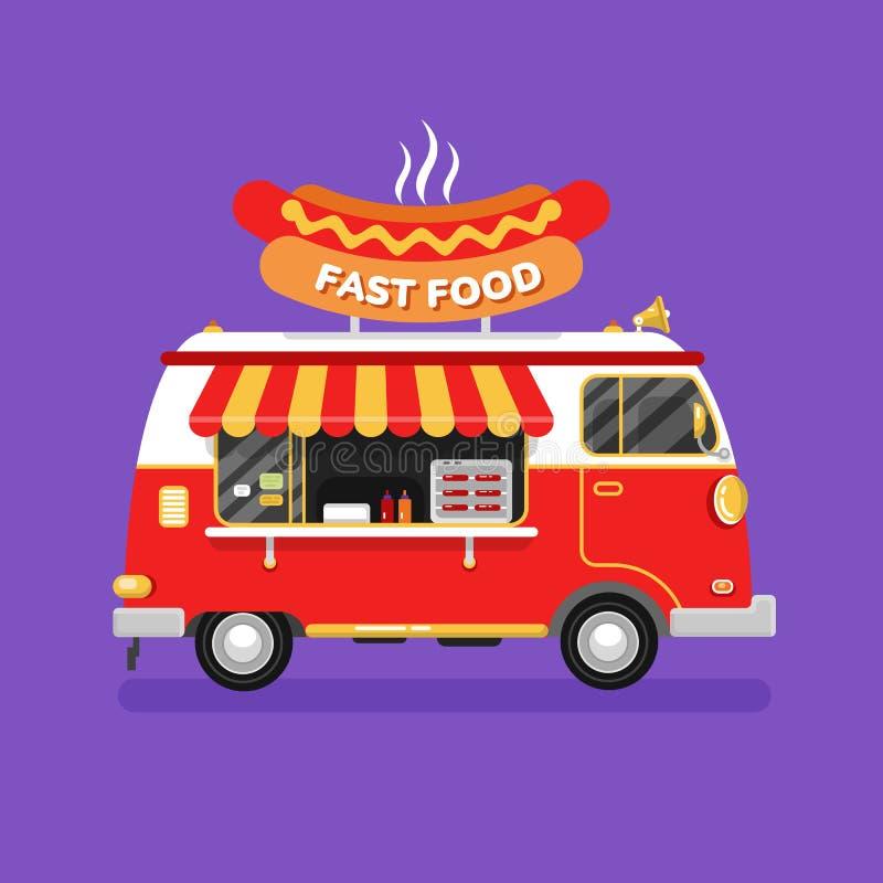 Φορτηγό χοτ-ντογκ γρήγορου φαγητού ελεύθερη απεικόνιση δικαιώματος