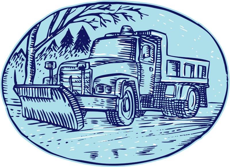 Φορτηγό ωοειδής χαρακτική αρότρων χιονιού απεικόνιση αποθεμάτων