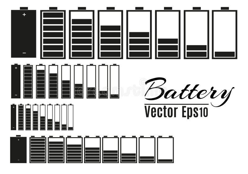 Φορτιστής μπαταριών με τις χαμηλούς μπαταρίες δάχτυλων και τους δείκτες, υψηλό διάνυσμα που απομονώνεται επίσης corel σύρετε το δ ελεύθερη απεικόνιση δικαιώματος