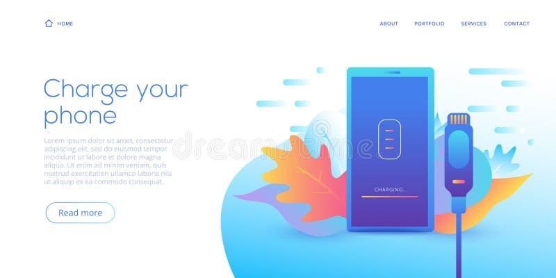 Φορτιστής smartphone καλωδίων στην επίπεδη απεικόνιση σχεδίου Αφηρημένο διανυσματικό υπόβαθρο για την κινητή συσκευή χρέωσης σκοι απεικόνιση αποθεμάτων