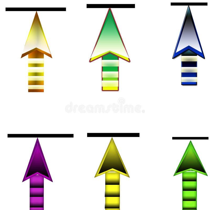 6 φορτώνουν το κουμπί βελών διανυσματική απεικόνιση