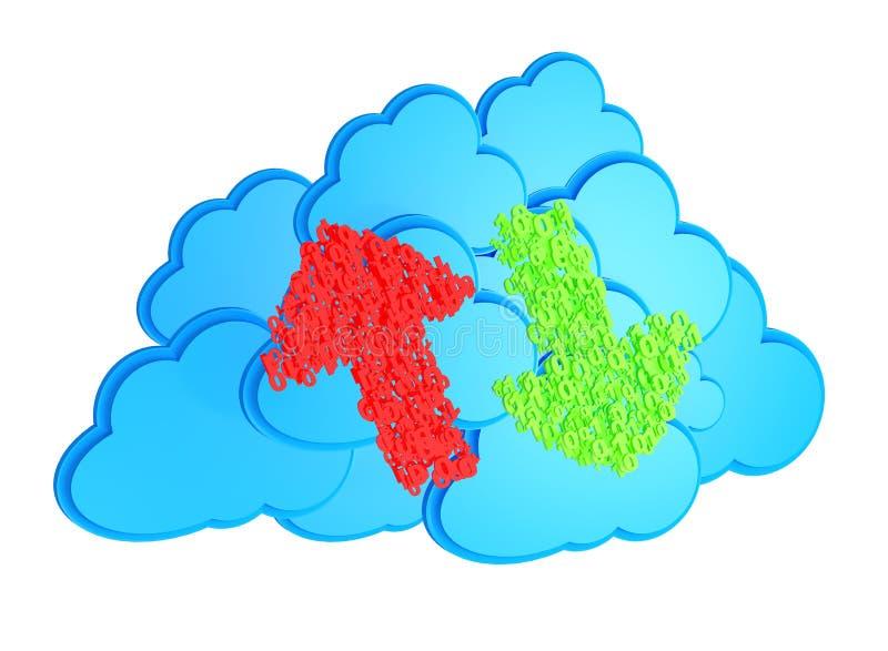 Φορτώστε και μεταφορτώστε τα βέλη πριν από τα μπλε σύννεφα απεικόνιση αποθεμάτων