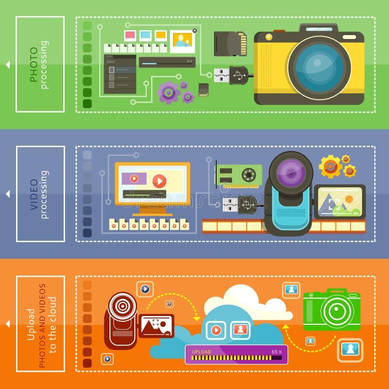 Φορτώστε το βίντεο, επεξεργασία φωτογραφιών απεικόνιση αποθεμάτων