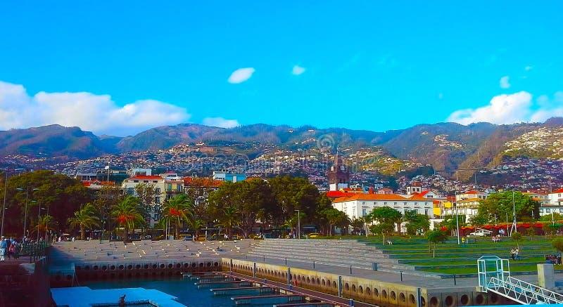 Φουνκάλ, η πρωτεύουσα του νησιού της Μαδέρας, μια πανοραμική άποψη της πόλης, Πορτογαλία στοκ φωτογραφίες