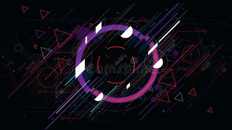Φουτουριστικά αφηρημένα υπόβαθρα τεχνολογίας, ζωηρόχρωμος κύκλος διανυσματική απεικόνιση