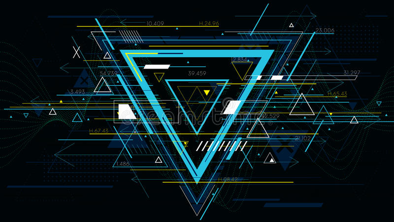 Φουτουριστικά αφηρημένα υπόβαθρα τεχνολογίας, ζωηρόχρωμο τρίγωνο απεικόνιση αποθεμάτων