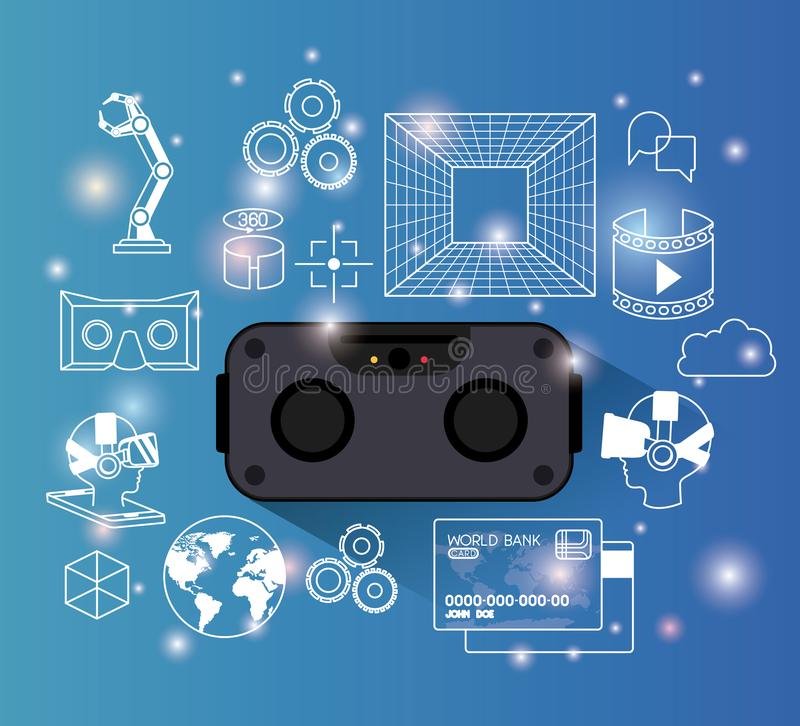 Φουτουριστικά καθορισμένα εικονίδια συσκευών τεχνολογίας απεικόνιση αποθεμάτων