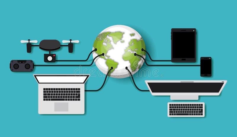 Φουτουριστικά καθορισμένα εικονίδια συσκευών τεχνολογίας διανυσματική απεικόνιση