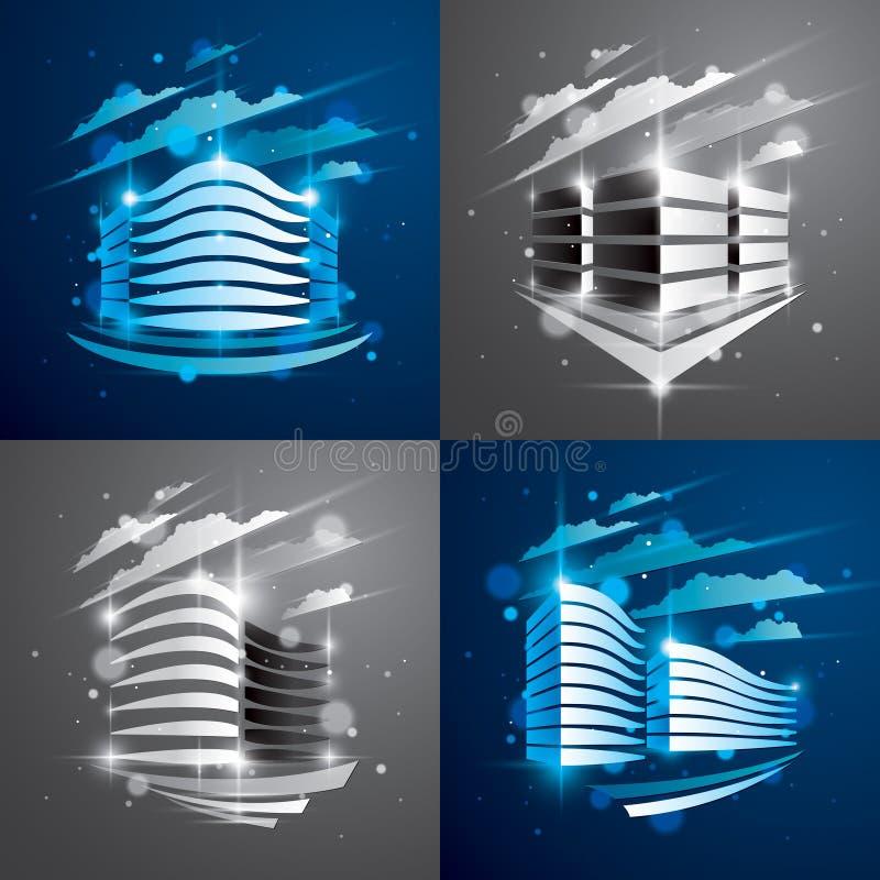 Φουτουριστικά κτήρια καθορισμένα, σύγχρονες διανυσματικές απεικονίσεις αρχιτεκτονικής με τα θολωμένα φω'τα και αποτελέσματα έντον διανυσματική απεικόνιση
