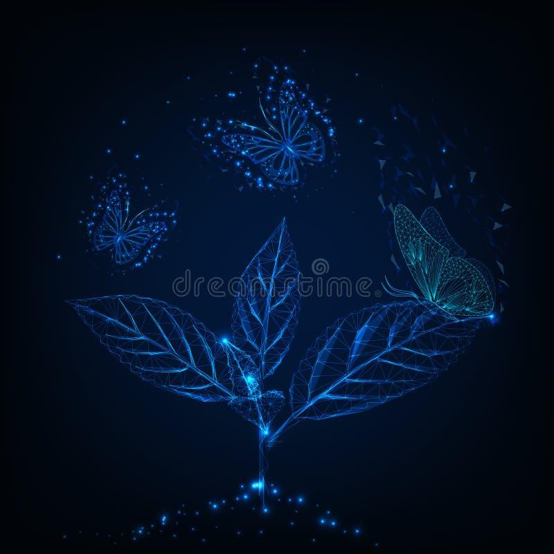 Φουτουριστικές χαμηλές πολυ πετώντας πεταλούδες πυράκτωσης γύρω από τις πράσινες εγκαταστάσεις στο σκούρο μπλε υπόβαθρο ελεύθερη απεικόνιση δικαιώματος