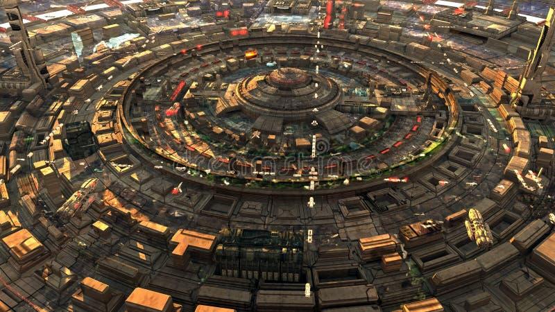 Φουτουριστική άποψη οδών πόλεων sci-Fi, τρισδιάστατη ψηφιακά απεικόνιση διανυσματική απεικόνιση