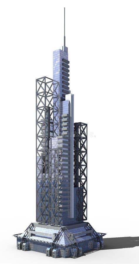 Φουτουριστική αρχιτεκτονική πόλεων διανυσματική απεικόνιση