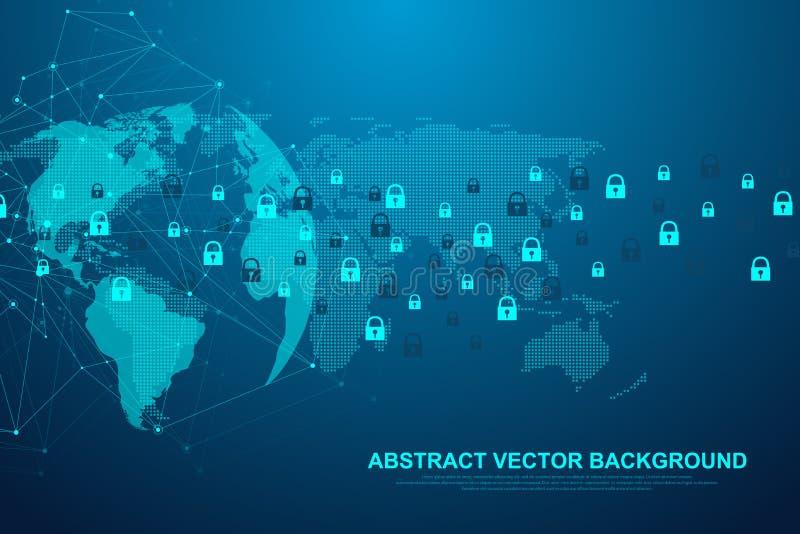 Φουτουριστική αφηρημένη τεχνολογία υποβάθρου blockchain Σφαιρική σύνδεση δικτύων Ίντερνετ Λόρδος για να κοιτάξει αδιάκριτα την επ απεικόνιση αποθεμάτων