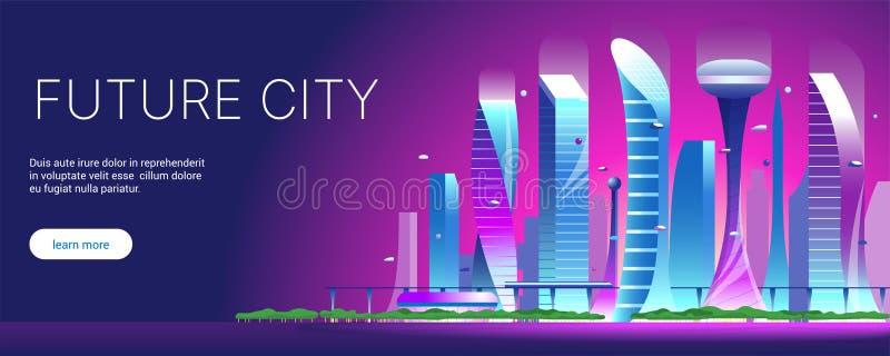 Φουτουριστική εικονική παράσταση πόλης 01 νύχτας απεικόνιση αποθεμάτων