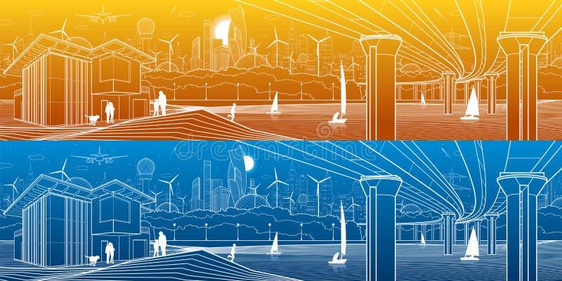 Φουτουριστική ζωή πόλεων Πανόραμα υποδομής Βιομηχανική απεικόνιση Μεγάλη αυτοκινητική γέφυρα Άνθρωποι στην όχθη ποταμού σύγχρονος ελεύθερη απεικόνιση δικαιώματος
