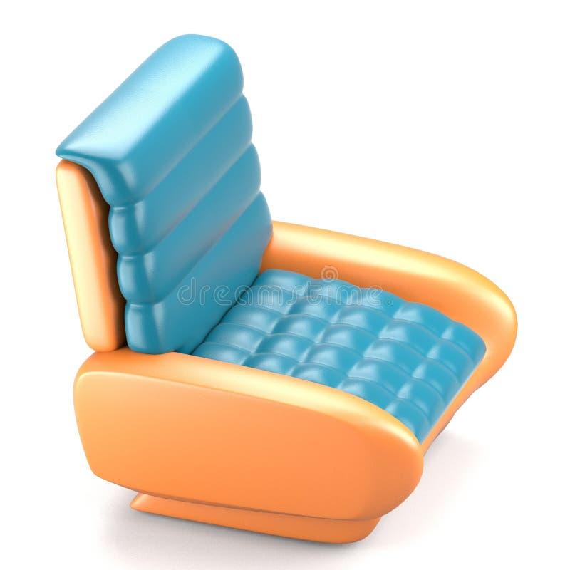 Φουτουριστική καρέκλα δέρματος σχεδίου μπλε διανυσματική απεικόνιση
