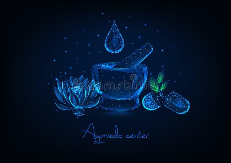 Φουτουριστική κεντρική έννοια ayurveda με το κονίαμα, την πτώση ουσιαστικού πετρελαίου, το λουλούδι λωτού και τα βοτανικά χάπια ελεύθερη απεικόνιση δικαιώματος