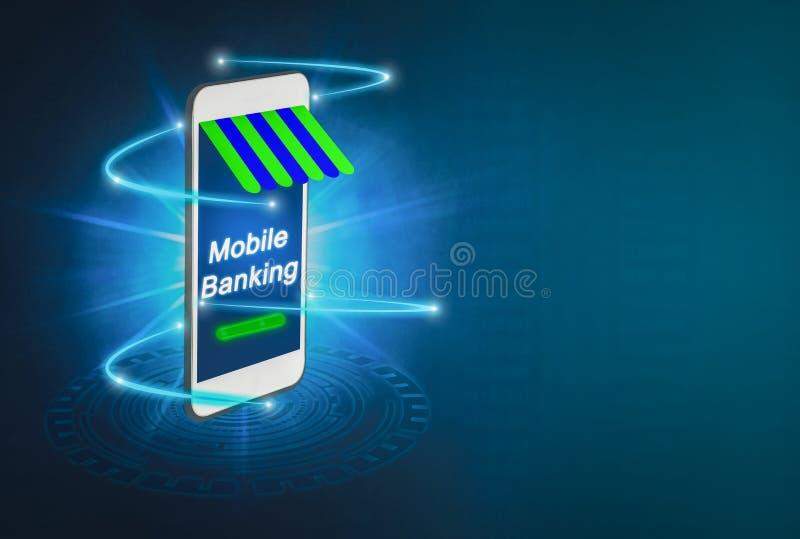 Φουτουριστική κινητή απαλοιφή για το μέλλον, που προωθείται smartphones για το α απεικόνιση αποθεμάτων