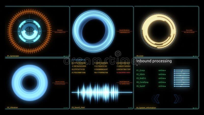 Φουτουριστική οθόνη στοιχείων υπολογιστών διεπαφών τεχνολογίας Διάφορα ζωντανεψοντα διαγράμματα Infographics ως head-up επίδειξη  διανυσματική απεικόνιση