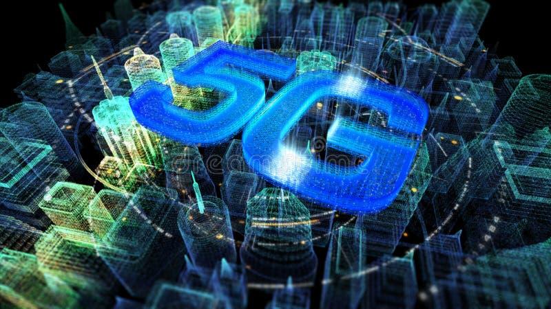Φουτουριστική ολογραφική ψηφιακή ασύρματη πόλη 5G ελεύθερη απεικόνιση δικαιώματος