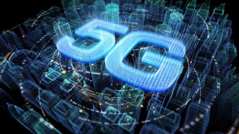 Φουτουριστική ολογραφική ψηφιακή ασύρματη πόλη 5G διανυσματική απεικόνιση