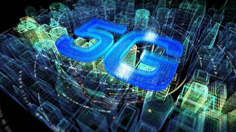 Φουτουριστική ολογραφική ψηφιακή ασύρματη πόλη 5G απεικόνιση αποθεμάτων