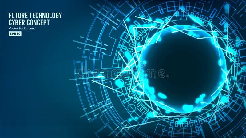 Φουτουριστική δομή σύνδεσης τεχνολογίας αφηρημένο διάνυσμα ανασκόπ& Μπλε ηλεκτρονικό δίκτυο Τα ηλεκτρονικά στοιχεία συνδέουν ελεύθερη απεικόνιση δικαιώματος