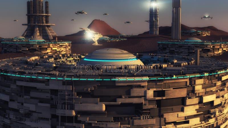 Φουτουριστική πόλη και αλλοδαπός πλανήτης ελεύθερη απεικόνιση δικαιώματος