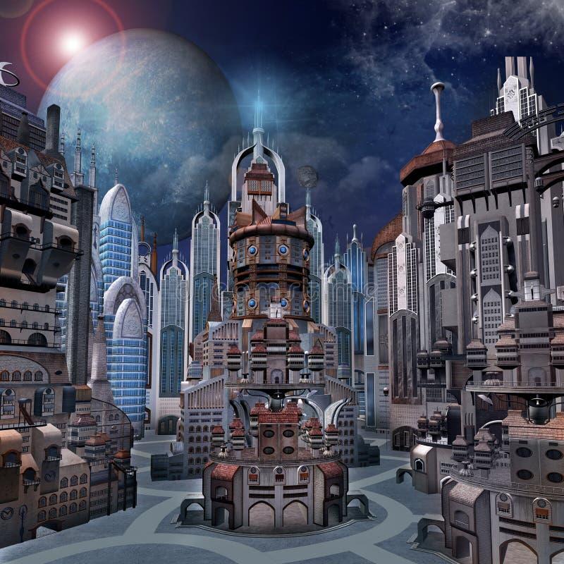 Φουτουριστική πόλη με τα κτήρια υψηλής τεχνολογίας ελεύθερη απεικόνιση δικαιώματος