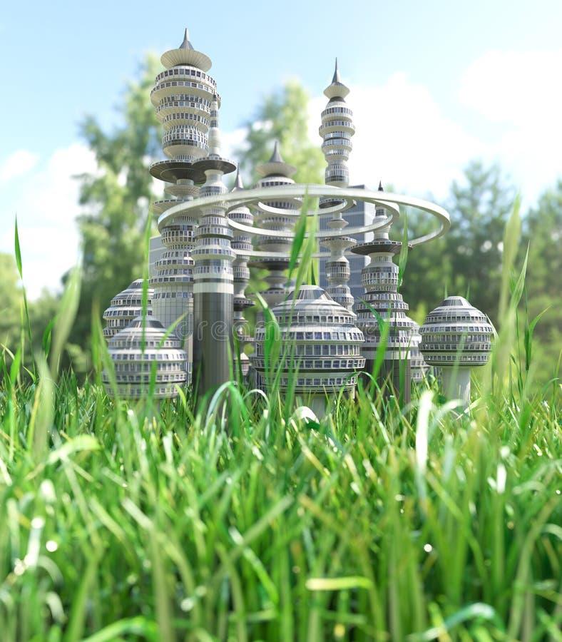 Φουτουριστική πόλη με τη λεπίδα της χλόης στοκ εικόνα
