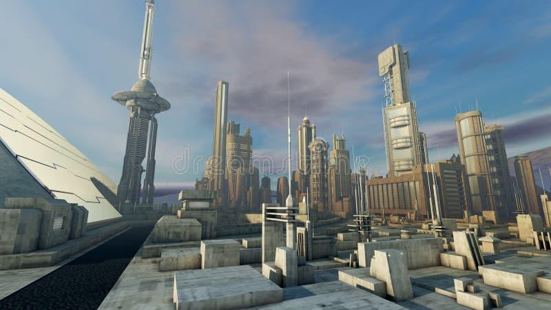 Φουτουριστική πόλη διανυσματική απεικόνιση