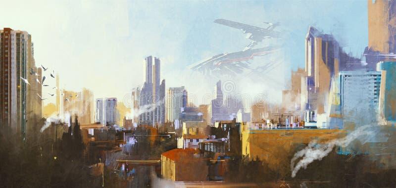 Φουτουριστική πόλη sci-Fi με τον ουρανοξύστη διανυσματική απεικόνιση