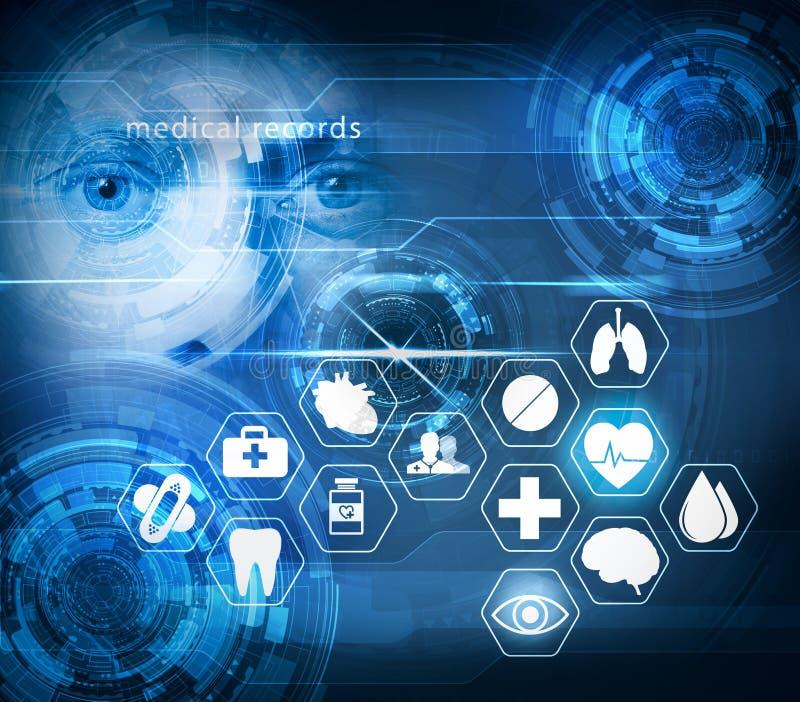 Φουτουριστική τεχνολογία ιατρικής φροντίδας διανυσματική απεικόνιση