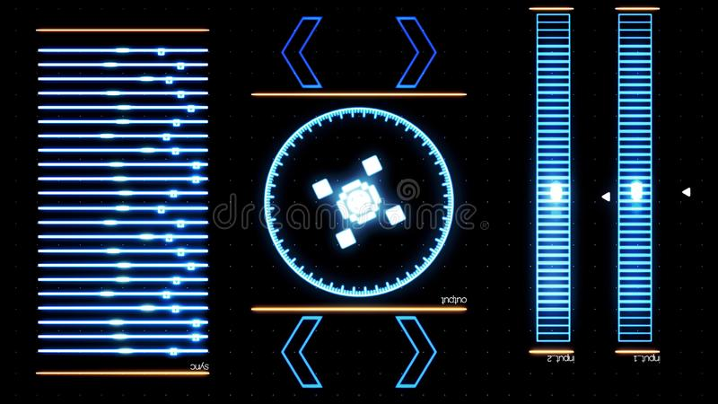 Φουτουριστική ψηφιακή οθόνη διεπαφών με το τρέξιμο του προγράμματος υπολογιστών : Αφηρημένη λειτουργούσα εφαρμογή συστημάτων επάν ελεύθερη απεικόνιση δικαιώματος