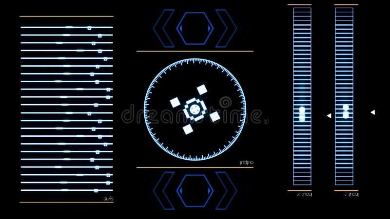 Φουτουριστική ψηφιακή οθόνη διεπαφών με το τρέξιμο του προγράμματος υπολογιστών : Αφηρημένη λειτουργούσα εφαρμογή συστημάτων επάν διανυσματική απεικόνιση