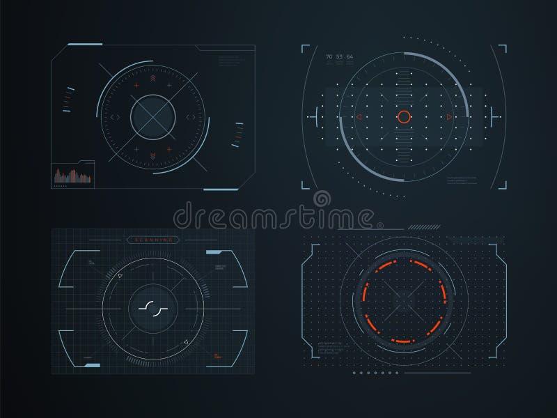Φουτουριστικοί εικονικοί πίνακες ελέγχου hud Διανυσματικό σχέδιο υψηλής τεχνολογίας οθόνης αφής ολογραμμάτων διανυσματική απεικόνιση