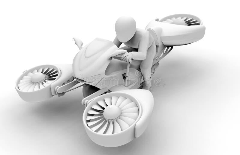 Φουτουριστικός αιωρηθείτε την έννοια ποδηλάτων τρισδιάστατη απεικόνιση αποθεμάτων