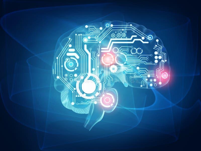 Φουτουριστικός ανθρώπινος εγκέφαλος διανυσματική απεικόνιση