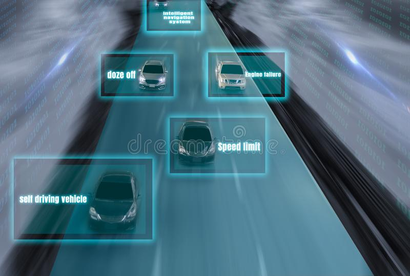 Φουτουριστικός δρόμος της μεγαλοφυίας για τα ευφυή μόνα οδηγώντας αυτοκίνητα, Arti ελεύθερη απεικόνιση δικαιώματος