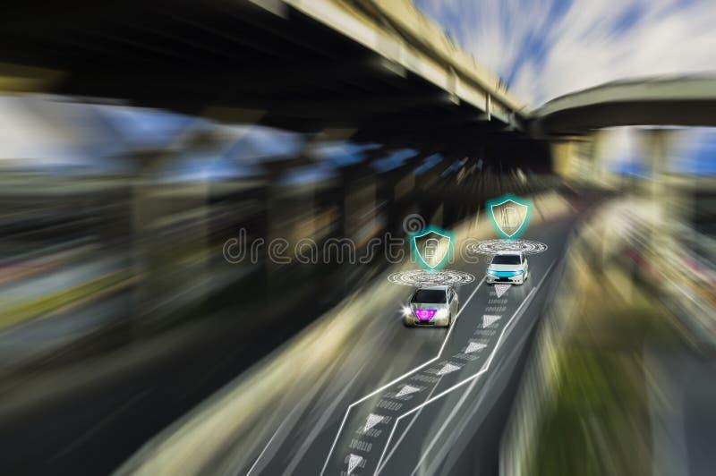 Φουτουριστικός δρόμος της μεγαλοφυίας για τα ευφυή μόνα σύστημα οδηγώντας αυτοκίνητα, τεχνητής νοημοσύνης, που ανιχνεύει τα αντικ στοκ εικόνες