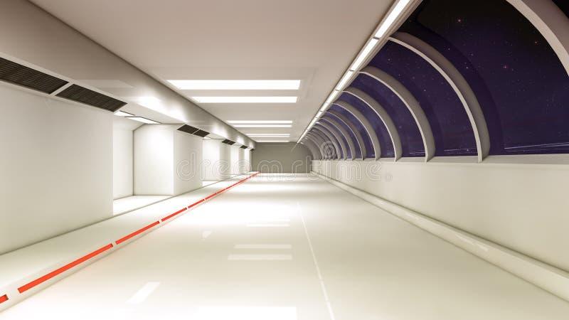 Φουτουριστικός εσωτερικός διάδρομος διαστημοπλοίων στοκ εικόνα με δικαίωμα ελεύθερης χρήσης