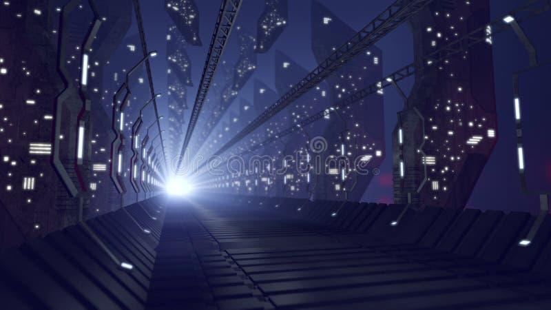Φουτουριστικός διάδρομος sci-Fi του γυαλιού απεικόνιση αποθεμάτων