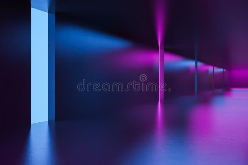 Φουτουριστικός κενός διάδρομος με τα φω'τα νέου ελεύθερη απεικόνιση δικαιώματος