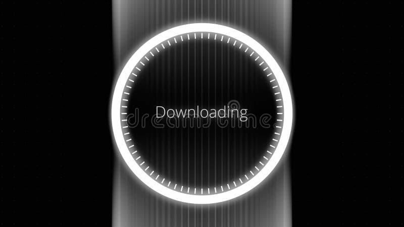 Φουτουριστικός κύκλος με έναν δείκτη δαχτυλιδιών που παρουσιάζει πρόοδο από 0 μέχρι 100 τοις εκατό Φουτουριστικός κύκλος φόρτωσης απεικόνιση αποθεμάτων