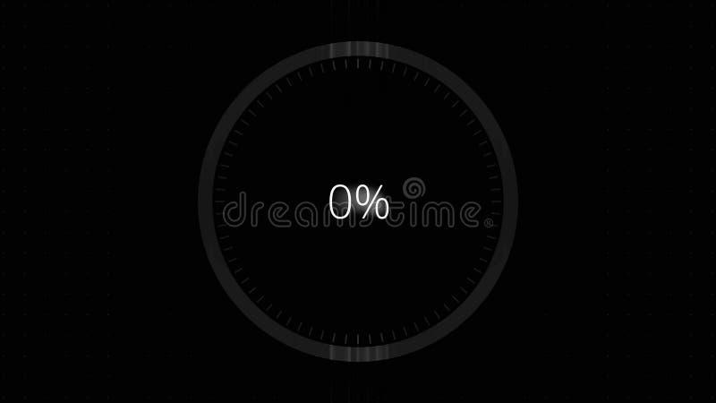 Φουτουριστικός κύκλος με έναν δείκτη δαχτυλιδιών που παρουσιάζει πρόοδο από 0 μέχρι 100 τοις εκατό Φουτουριστικός κύκλος φόρτωσης ελεύθερη απεικόνιση δικαιώματος
