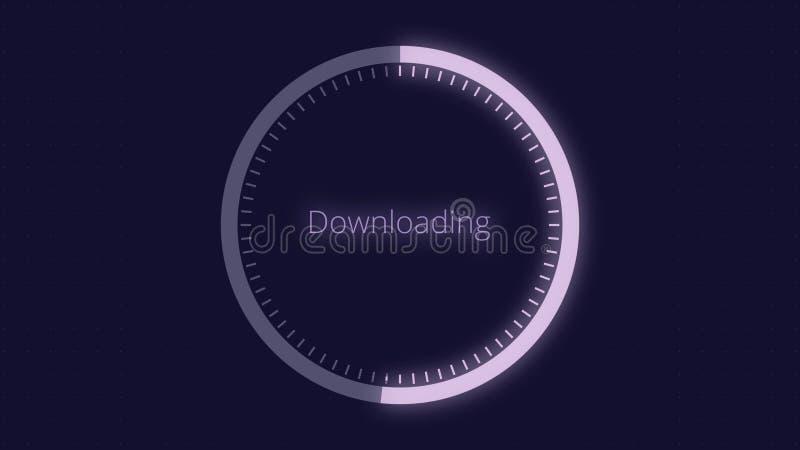 Φουτουριστικός κύκλος με έναν δείκτη δαχτυλιδιών που παρουσιάζει πρόοδο από 0 μέχρι 100 τοις εκατό Φουτουριστικός κύκλος φόρτωσης διανυσματική απεικόνιση