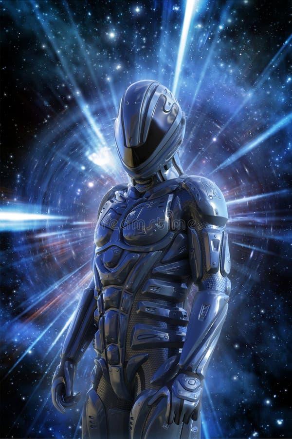 Φουτουριστικός στρατιώτης και διαστημική στρέβλωση διανυσματική απεικόνιση