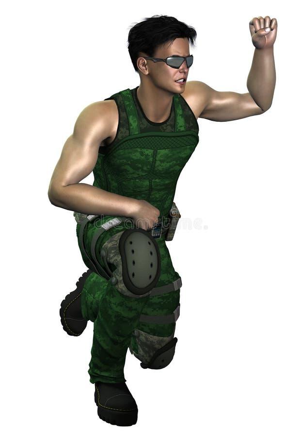 Φουτουριστικός στρατιώτης διανυσματική απεικόνιση